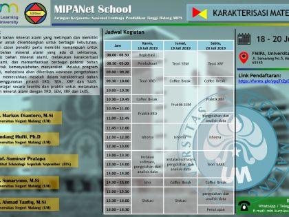 Karakterisasi Material, Malang, 18-20 Juli 2019