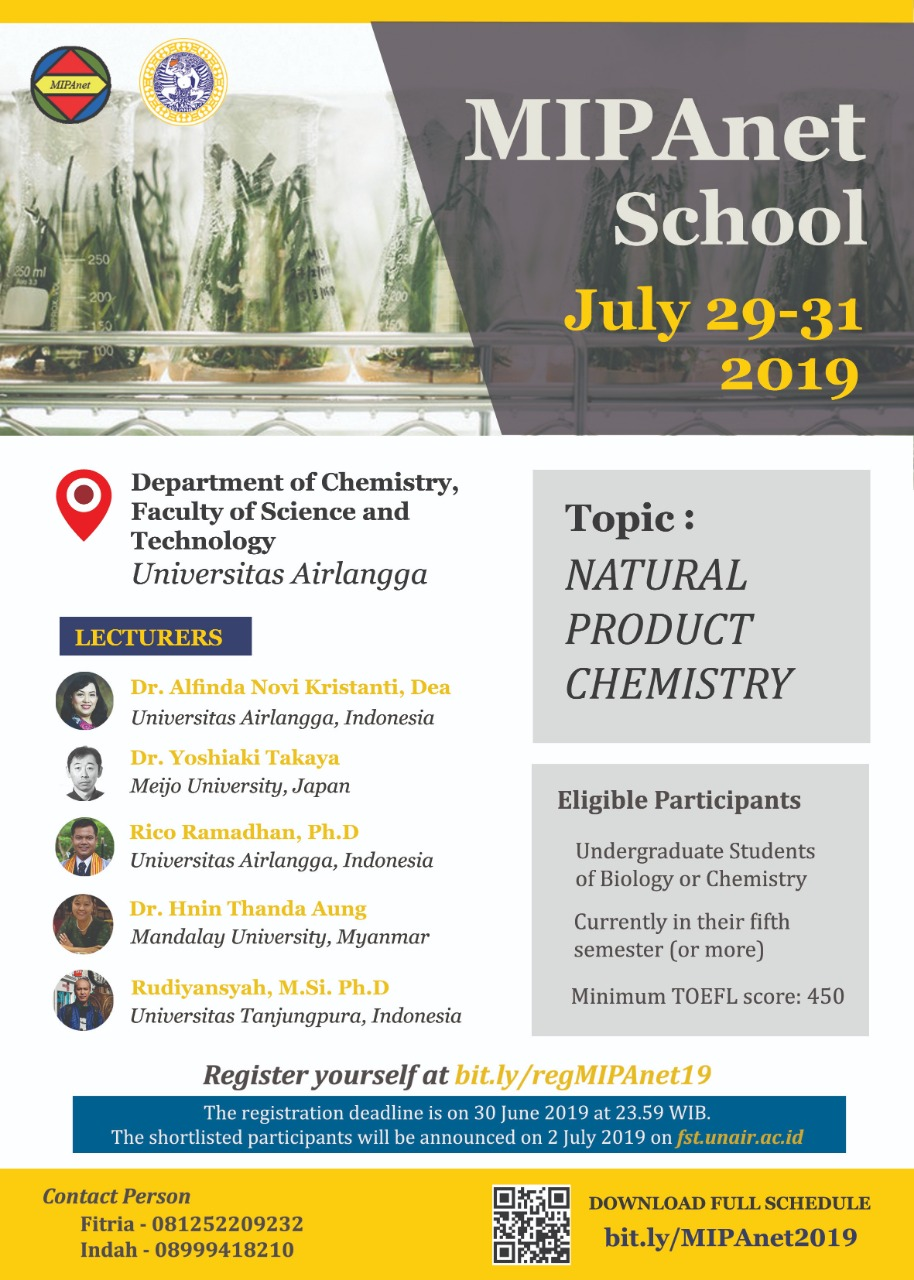 Natural Product Chemistry, Surabaya, 29-31 Juli 2019