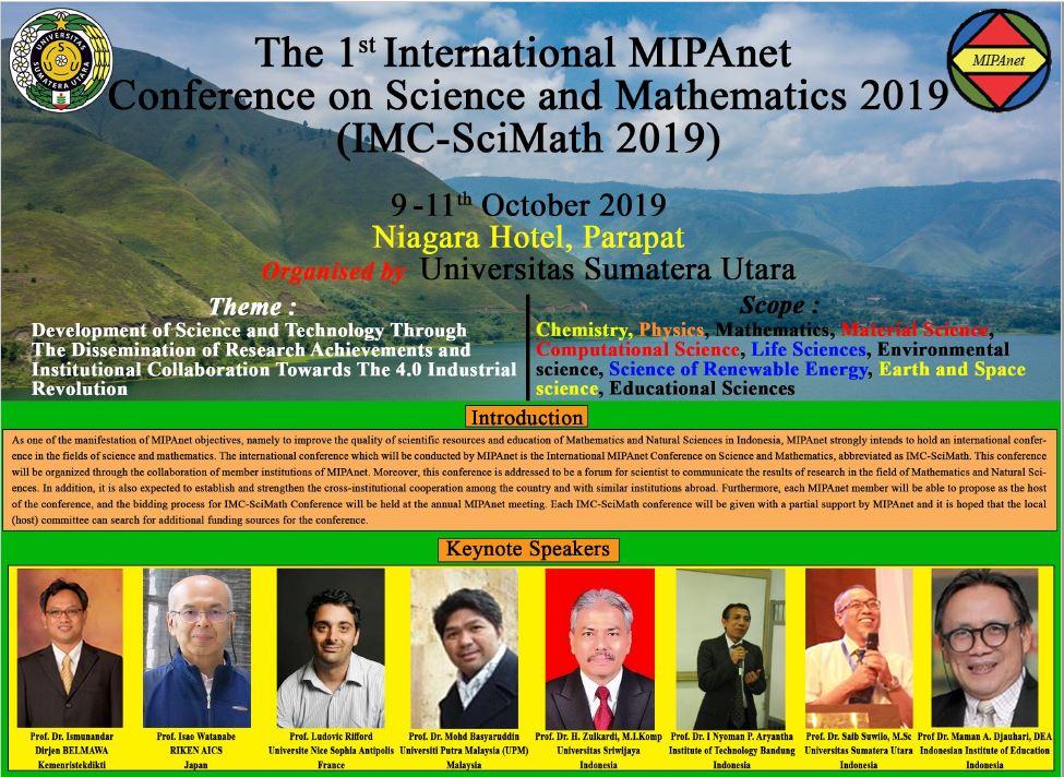 IMC-SciMath 2019 Parapat, North Sumatera, 9-11 October 2019