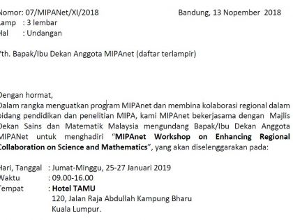 "Undangan Rapat ""MIPAnet Workshop on Enhancing Regional Collaboration on Science and Mathematics"""