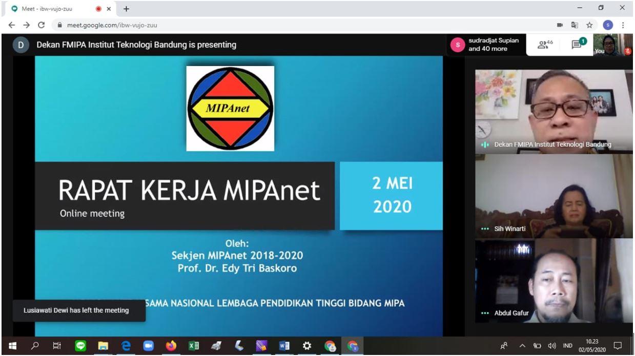 RAPAT KERJA MIPANET PERTAMA KALI SECARA DARING 2 MEI 2020